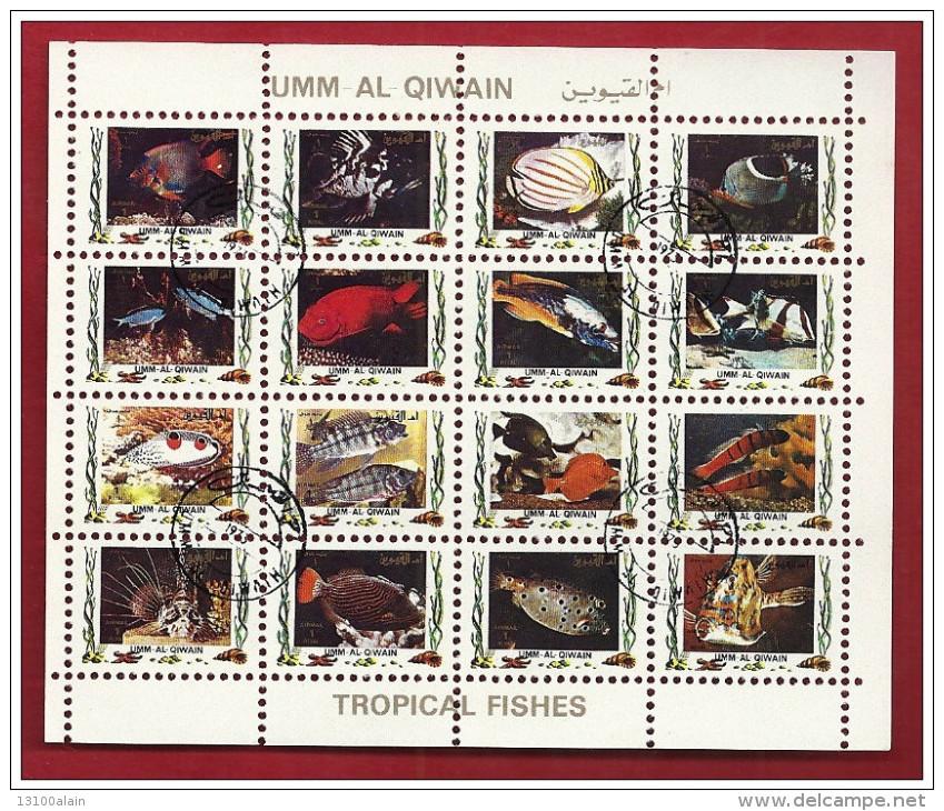 Bloc Feuillet 16 Timbres Mini-feuille Oblitéré Animaux Poissons Tropicaux UMM AL QIWAIN 1973 Emirats Arabes Unis  FISHES - Fishes