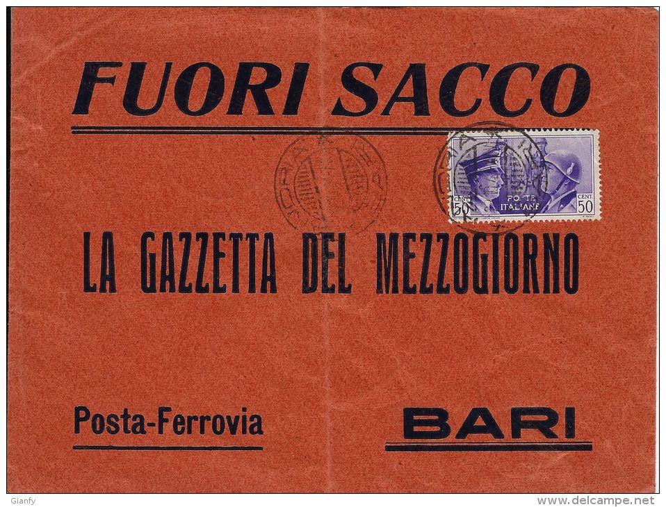 REGNO ALLEANZA ITALIA GERMANIA 50 CENT 1941 ANDRIA X BARI FUORI SACCO AMBULANTE - Storia Postale