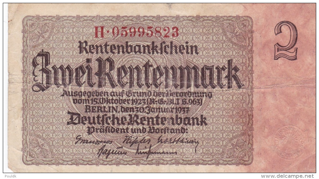 Third Reich - Zwei Rentenbankschein - Berlin 30.1.1937 (G67-66) - [ 4] 1933-1945 : Terzo  Reich