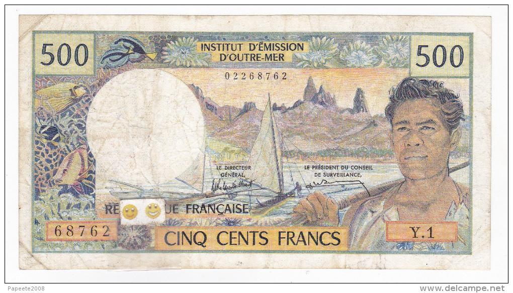 Nouvelle Calédonie - 500 FCFP - Surchargé NOUMEA - Y.1 / Signatures Y. Rolland-Billecart / J. Waitzenegger - Nouméa (New Caledonia 1873-1985)