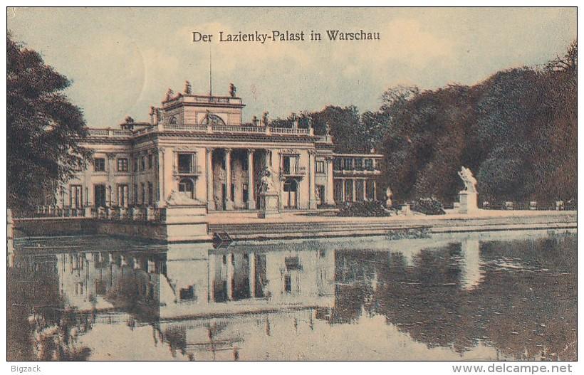 AK Warschau Lazienky-Palast Color Gelaufen 13.8.13 Zensur Überwachungsstelle Posen - Polen