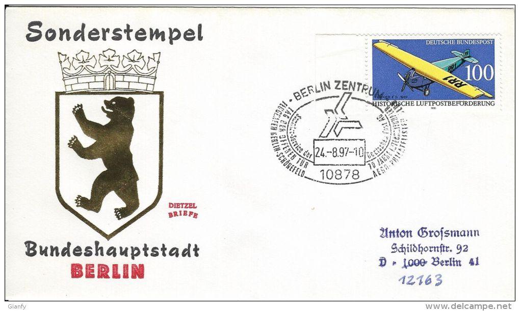 1997 GERMANY DEUTSCHLAND TAG DER OFFENEN TUR BERLIN SCHONEFELD FLUGHAFEN FDC - Esposizioni Filateliche