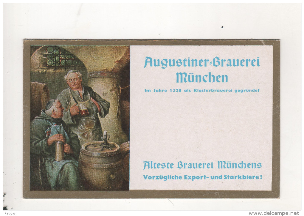 Bierre Augustiner Brauerei Munchen Carte Double - Pubblicitari