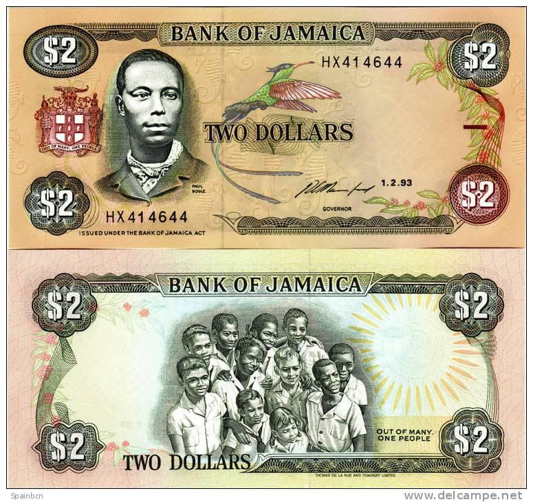 Jamaica      2 Dolares / Dollars 1993 - Jamaica