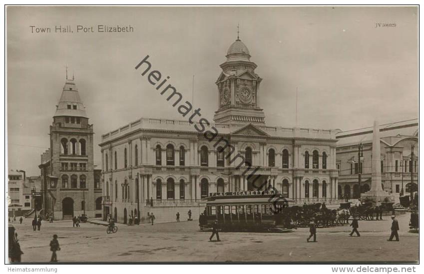Port Elizabeth - Town Hall - Strassenbahn - Foto-AK - Südafrika