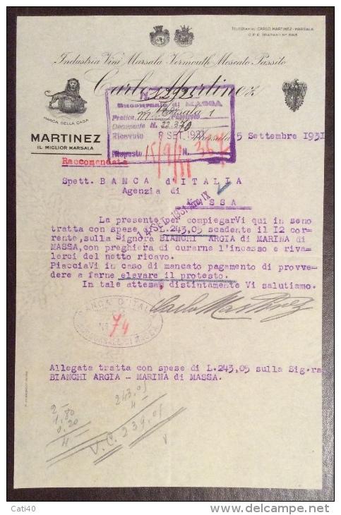MARSALA 1931 - CARLO MARTINEZ IL MIGLIOR MARSALA - LETTERA PUBBLICITARIA - Advertising
