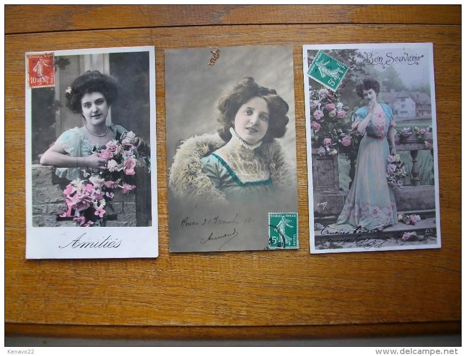 3 Cartes De Sihouettes Ou Portrait De Femmes - Silhouettes