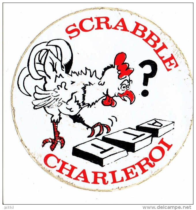 Scrabble Ancien Autocollant Du Club ATT Charleroi, Ancêtre Du Scrabbleroy (vers 1975/80) - Unclassified