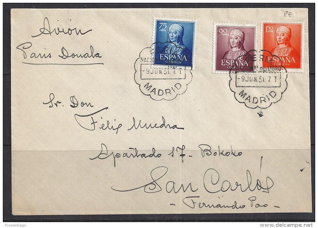 ESPAÑA 1951 - CARTA CIRCULADA DE MADRID A FERNANDO POO - Interi Postali