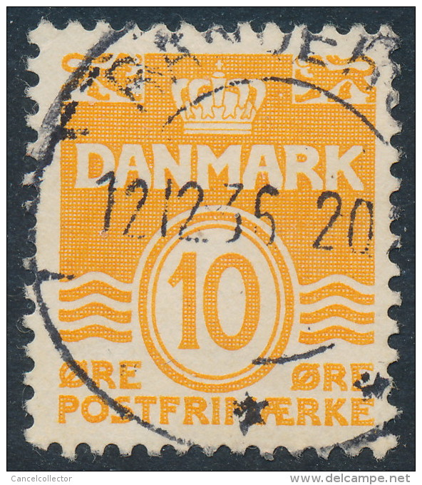 Denmark Danemark Danmark 1933: 10ø Orange Wavy Lines Type I (R!), Fine Used (DCDK00249) - Used Stamps