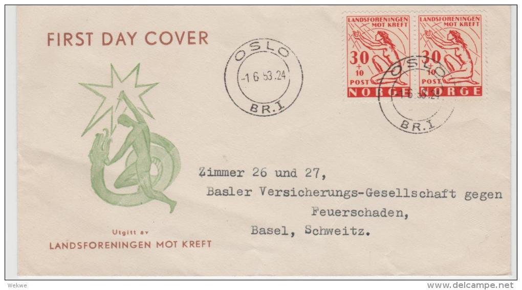 Nor065 / Kampf Dem Krebs (cancr) FDC In Die Schweiz - FDC