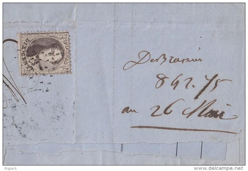 Briefstück Dix Cent Verviers 27.4.64 - 1849-1865 Medaillen (Sonstige)
