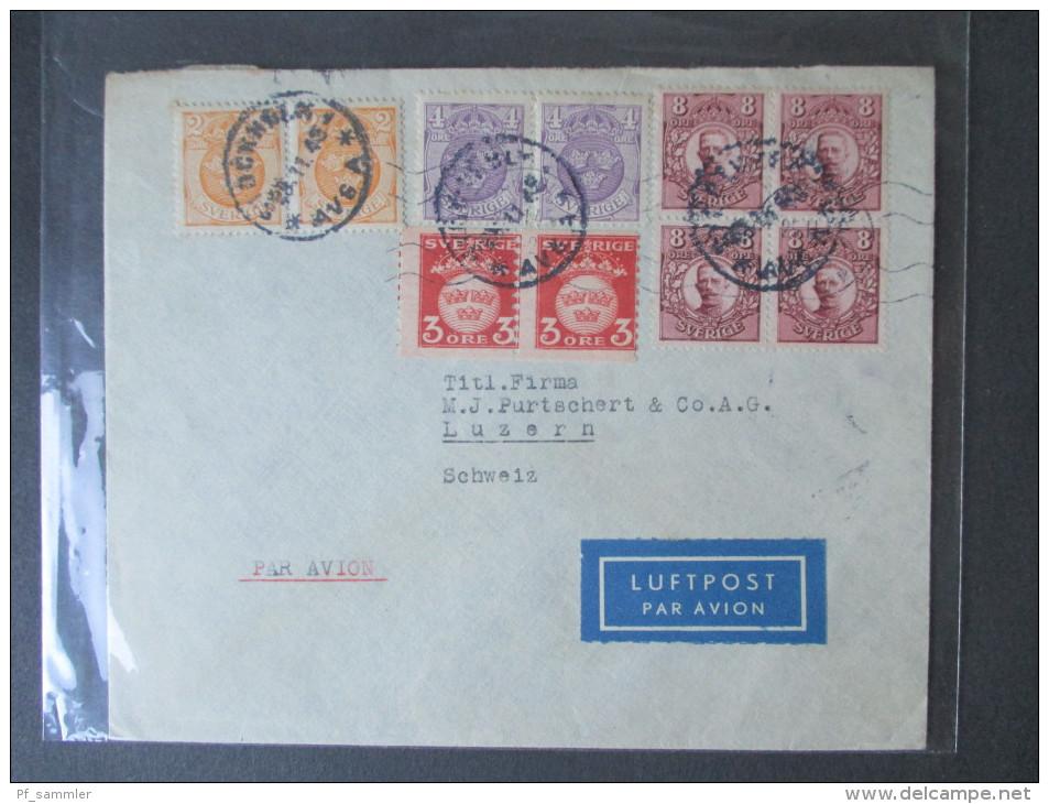 Schweden MiF Mehrerer Ausgaben 1911 - 1945. Toller Beleg!! Luftpost In Die Schweiz. Paare / Viererblock. - Schweden