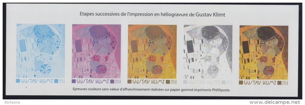 """Gustav Klimt, Etapes Successives De L´impression Héliogravure De """"Le Baiser"""" 3461 Bloc Gommé Neuf - Blocs & Feuillets"""