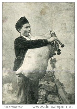 ZAMPOGNA GAITA DE CERDO RARISSIME TOP CARTE UNIQUE EDIT.L.C CIRCOLATA CIRCULADA TIMBRE ARRACHES 1903 - Italia