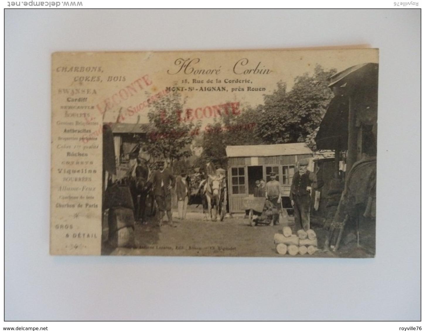 Mont-Saint-Aignan, Honoré Corbin, 18, Rue De La Corderie. Charbons, Cokes, Bois. - Mont Saint Aignan