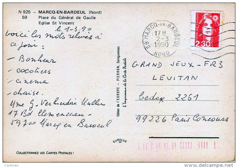 59 MARCQ EN BAROEUL PLACE GENERAL DE GAULLE  EGLISE SAINT VINCENT     CARTE ANNEES 1960/1980 - Marcq En Baroeul
