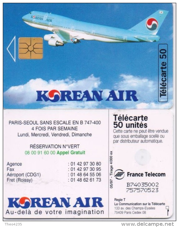 FRANCE  PHONECARD KOREAN AIR-4000pcs!!!-USED(2) - Avions