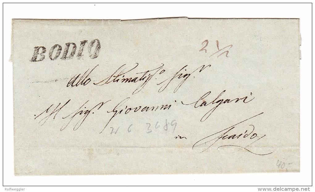 Heimat TI Bodio Langstempel Auf Briefstück 20.4.1849 Nach Faido - Svizzera
