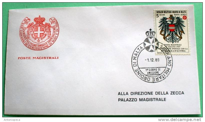 SMOM 1989 FDC -CONVENZIONE POSTALE AUSTRIA - Malte (Ordre De)