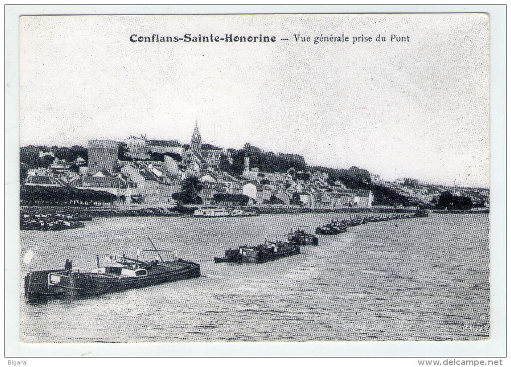 CP.. 78 . CONFLANTS-sainte-HONORINE . VUE GENERALE PRISE DU PONT .  PENICHES . - Conflans Saint Honorine