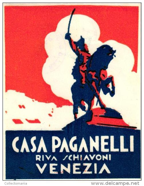 7 HOTEL LABELS ITALY ITALIE VENEZIA VENISE VENICE Albergo Pelligrino  Bortoli  Wagner Paganelli - Hotel Labels