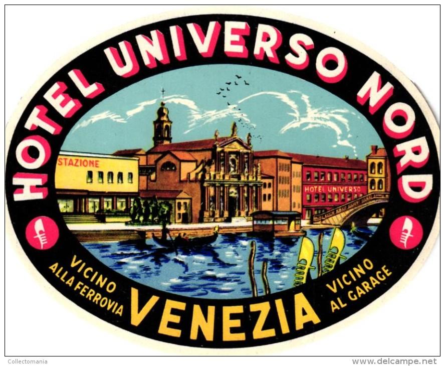 5 HOTEL Ettiquettas  ITALY ITALIE Italia VENEZIA VENISE VENICE Hotel Saturna Europa Universo Danieli Royal - Hotel Labels