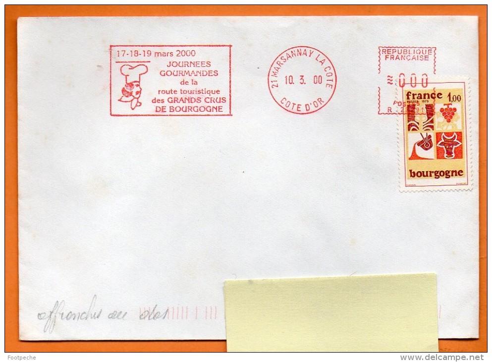 21 MARSANNAY LA COTE JOURNEES GOURMANDES ( Flamme Concordante )      2000 Lettre Entière  N° EMA 1300 - Marcophilie (Lettres)