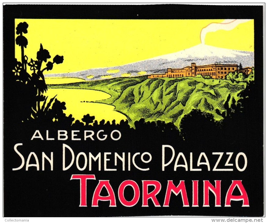 4 Etiquettas   HOTELS Colletion  ITALia  ITALIE  TAORMINA San Dominico Palazzo  Timeo  Excelsior Palace - Hotel Labels