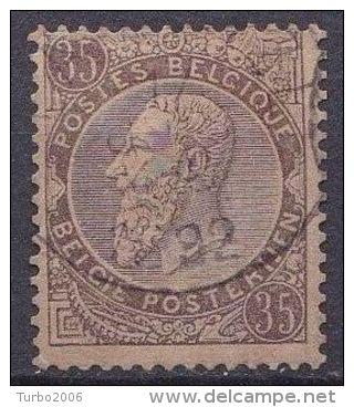 België 1891 Koning Leopold II 35 Centimes Lilabruin Op Bruin Michel 49 - 1884-1891 Leopold II