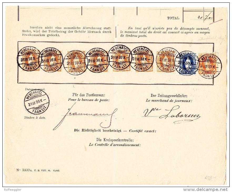 Heimat NE Neuchatel 31.3.1898 Mit 7x3Fr. + 0.50 + 0.20Rp. Auf Post Beleg - 1882-1906 Armoiries, Helvetia Debout & UPU