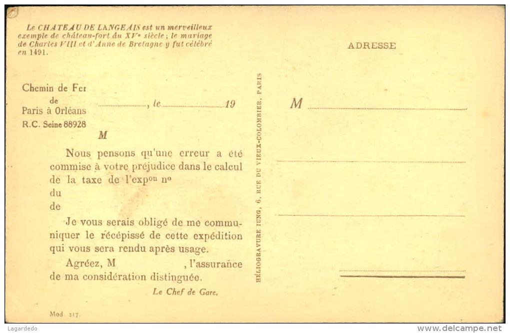 CHATEAU DE LANGEAIS CARTE SERVANT AU CHEMINS DE FER PARIS A ORLEANS - Langeais