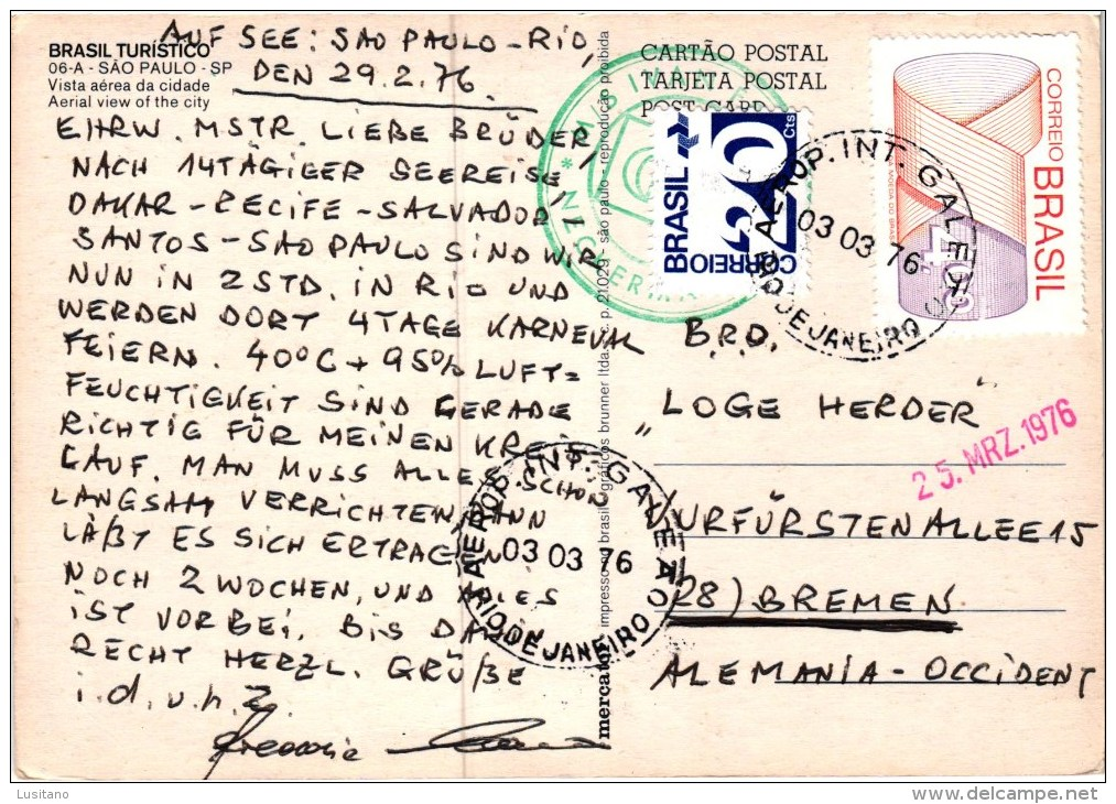 Brasil - SÃO PAULO - VISTA AEREA AERIAL VIEW 1976 Used Stamp Timbre ( 2 Scans ) - São Paulo