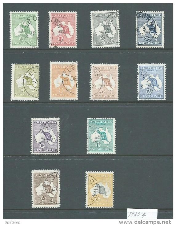 Australia 1913 First Watermark Kangaroos CTO Set Of 12 To 5 Shillings , All With Gum , Majority MNH / MVLH - 1913-48 Kangaroos