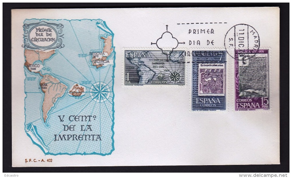 SPAIN ESPAGNE1975 FDC V CENTENARY OF PRINTING - Fábricas Y Industrias