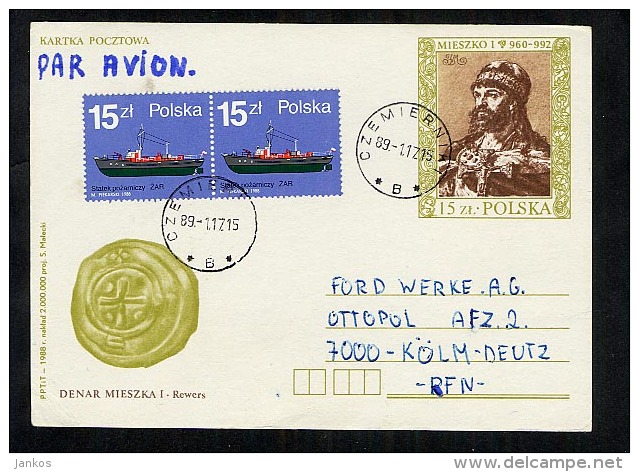 Poland Postal Stationery Postcard Used 1989  (Z065) - Stamped Stationery