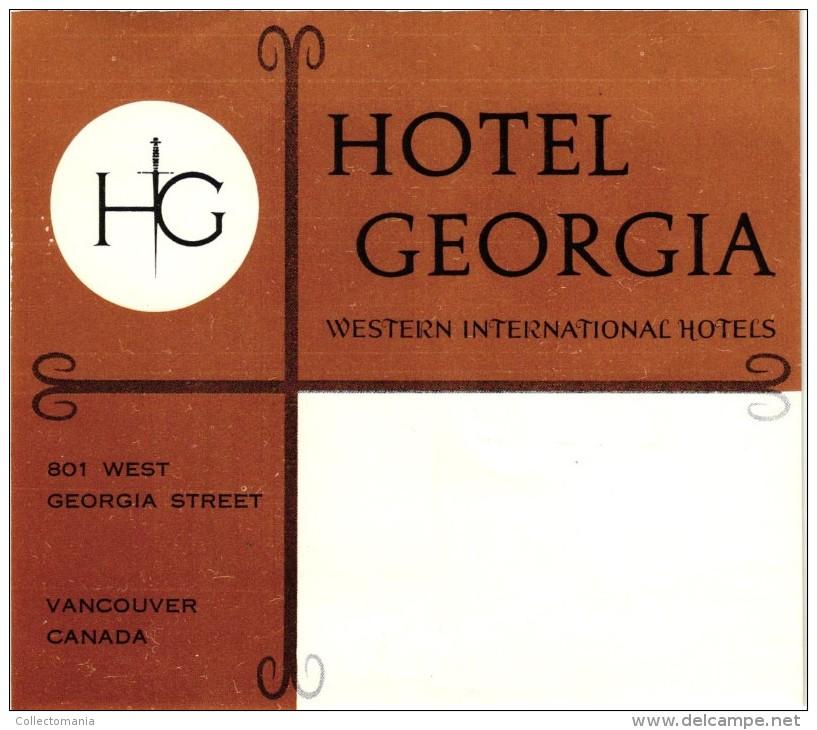 38 HOTEL LABELS CANADA Vancouver Calgery Ottawa Winnipeg Montreal Toronto Canadien Rockies Quebec Manitoba Ontario - Etiquettes D'hotels