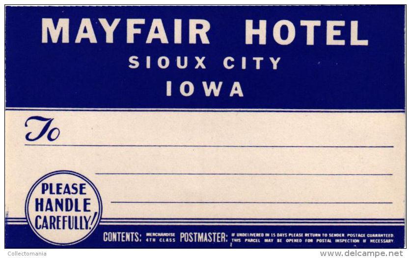 13 HOTEL LABELS USA IDIANA Fort Wayne Indianapolis IDAHO Boise IOWA Sioux Oelwein NEWJERSEY  Trenton Newark Atlantic - Hotel Labels