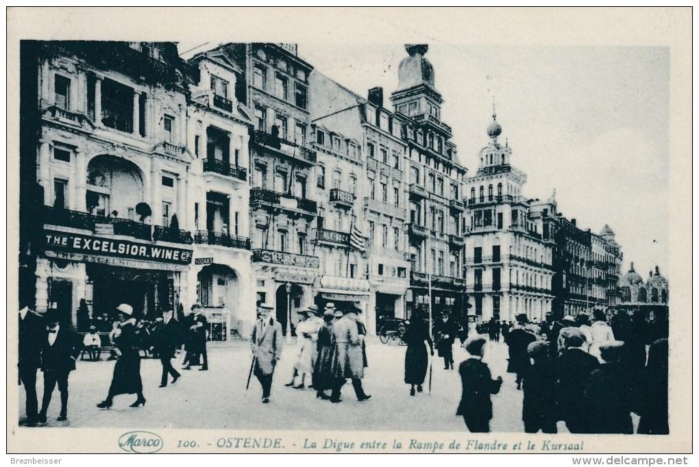 AK OSTENDE - La Digue Entre La Rampe Du Flandre Et Le Kursaal - Karte Gel. 1929 - Oostende