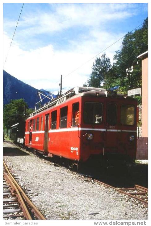 008-778) Dia (color Slide) Schweiz FM_Seft - RhB BDe 4/4 491 Mit Extra-GmP - Trains