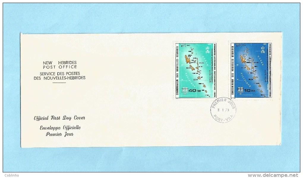 NOUVELLES HEBRIDES (New Hebrides) - Premier Jour FDC - 1979 - YT 549-550 - Premier Gouvernement Autonome - FDC