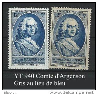 """FR Variétés YT 940 """" Comte D'Argenson """" 1953 Gris Ald Bleu - Variétés Et Curiosités"""