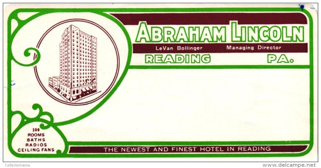 24 HOTEL Labels USA OREGON Portland Timberline PENNSYLVANIA Philadelphia Reading Pittsburgh Harrisburg Allentown Lancast - Hotel Labels