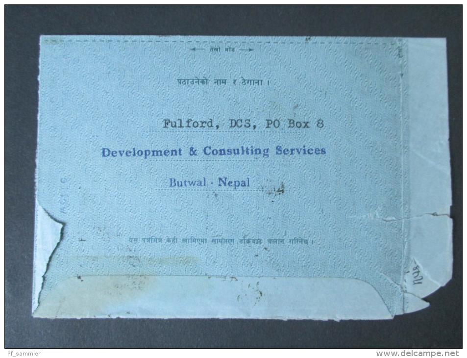 Nepal 1980 / 1983 Aerogramm / Luftpostbeleg MiF. Nach London. Butwal Nepal. - Nepal