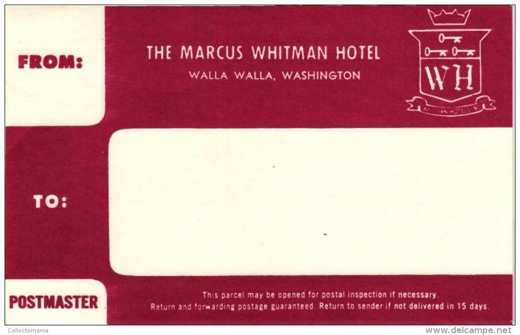12 HOTEL Labels WISCONSIN Madison Appleton Wausau Milwaukee Beaver Dam Washington Spokane Seattle - Hotel Labels