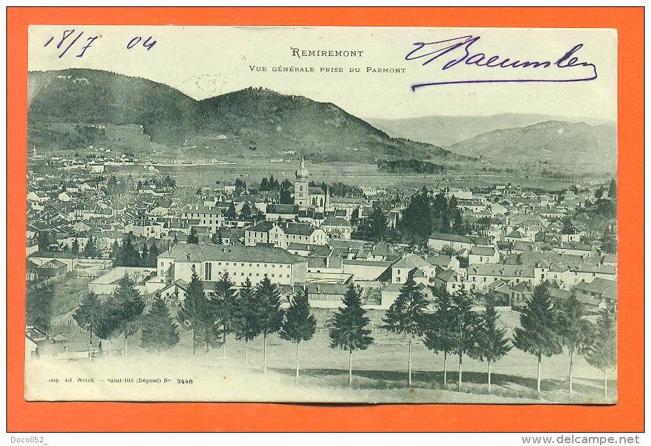 """Dpt  88  Remiremont  """"  Vue Generale Prise Du Parmont """" - Remiremont"""