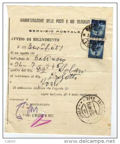 AVVISO DI RICEVIMETO R.R. MODELLO PROVVISORIO SENZA STEMMI CON COPPIA L.5 DEMOCRATICA BERTINORO FORLIì IN DATA 26/7/48 - 7. Trieste