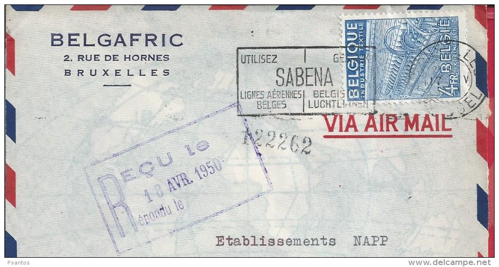 Textile Industry. Textilindustrie. L'industrie Textile.Letter Regisstered.Samp 4fr Belgique.Sabena.Lines Flights Belgium - Fabbriche E Imprese