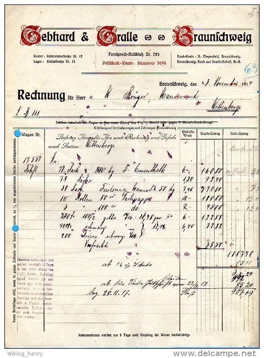 Braunschweig - Rechnung Gebhard & Gralle Baustoffe 1917 - Deutschland