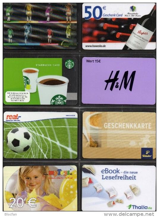 Cards Collection 8 Geschenk-Karten Kartenwelt Deutschland New 17€ Giftcard C&A Galeria Toys Tschibo H&M Starbuck Germany - Gift Cards